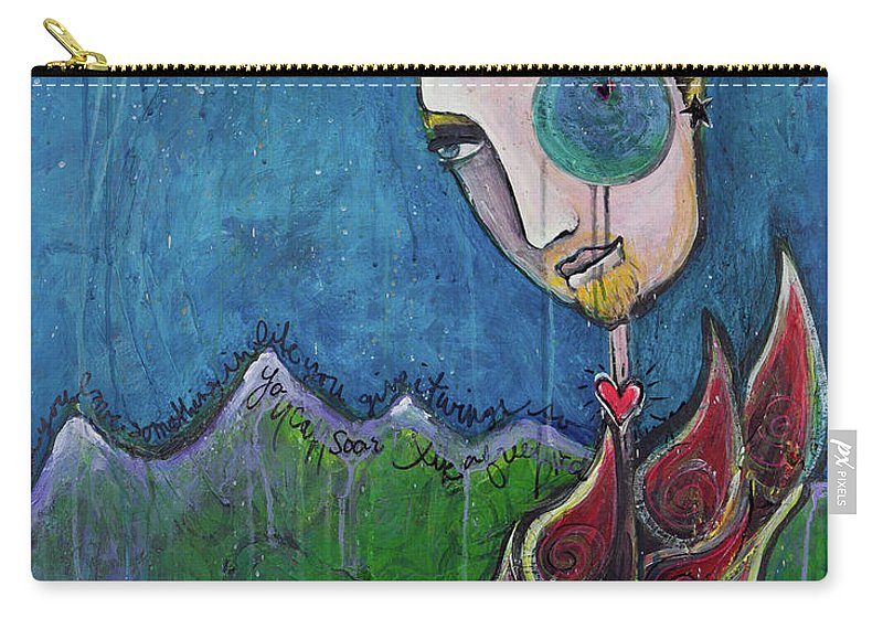 Birdman Carry-all Pouch featuring the painting Love For Birdman by Laurie Maves ART