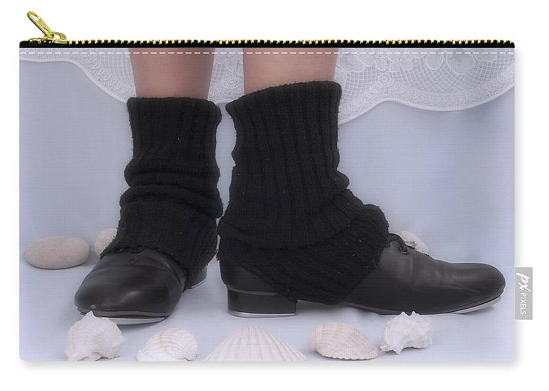 Black Carry-all Pouch featuring the photograph Love For Tap Dance Shoes In Dance Warmers by Pedro Cardona Llambias
