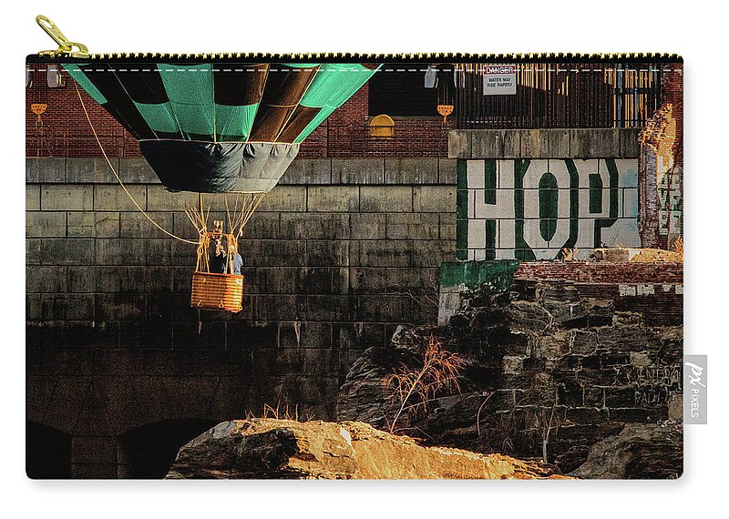 Hot Air Balloon Carry-all Pouch featuring the photograph Love Hope And A Hot Air Balloon by Bob Orsillo