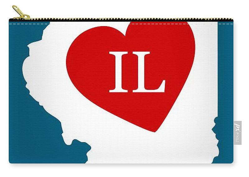 Illinois Carry-all Pouch featuring the digital art Love Illinois White by Custom Home Fashions