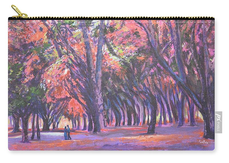 Love In Lal Bagh Carry-all Pouch featuring the painting Love In Lal Bagh 1 by Usha Shantharam