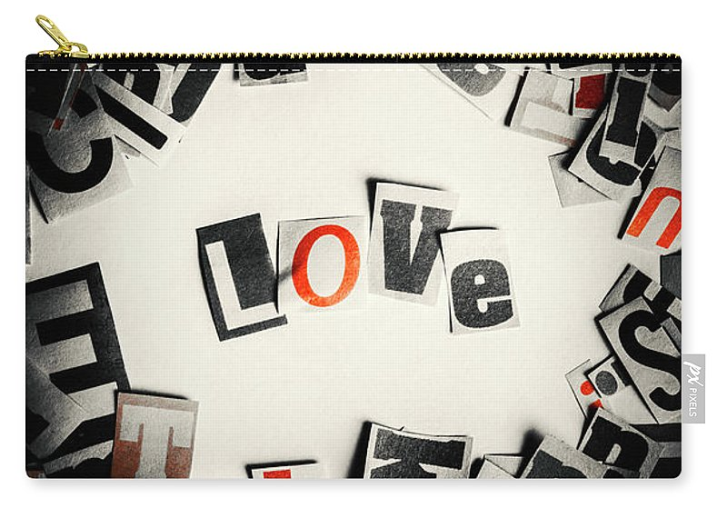 Love Carry-all Pouch featuring the photograph Love In Letters by Jorgo Photography - Wall Art Gallery