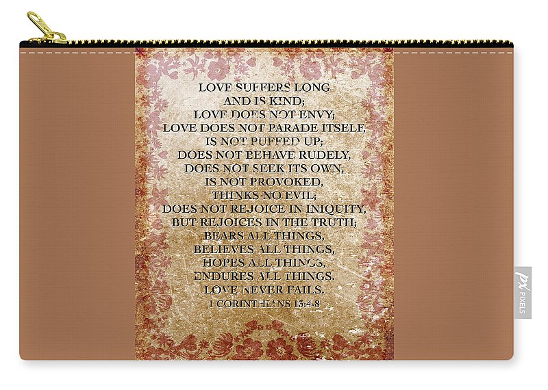 Love Is Bible Quote 1 Corinthians 13 Nkjv Carry-all Pouch