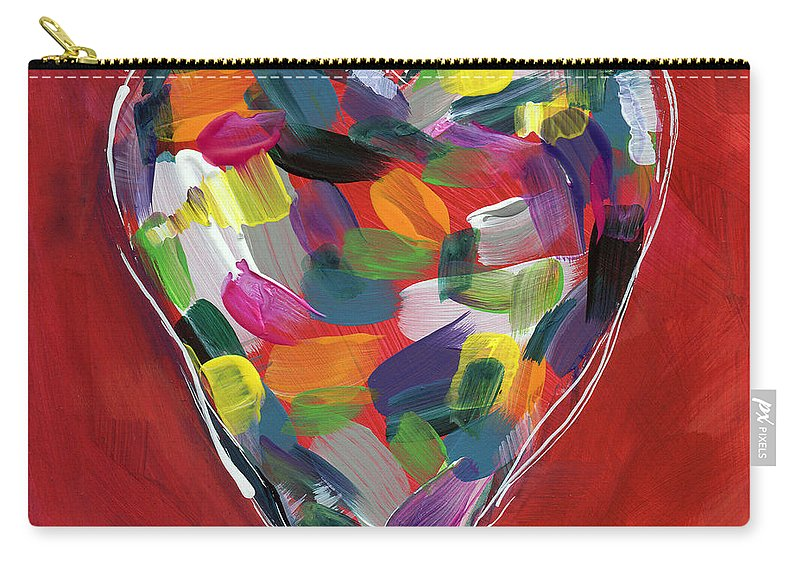 Heart Carry-all Pouch featuring the painting Love Is Colorful - Art by Linda Woods by Linda Woods
