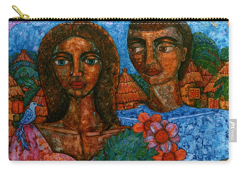 Love Carry-all Pouch featuring the painting Love Is Like A Bird by Madalena Lobao-Tello