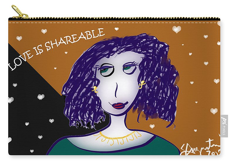 Inspire Carry-all Pouch featuring the drawing Love Is Shareable by Sharon Augustin