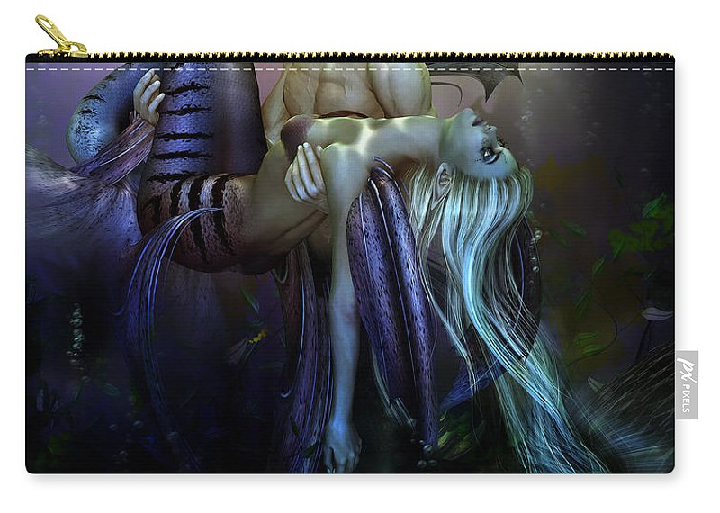 Mermaid Carry-all Pouch featuring the digital art Love Lost by Karen Koski