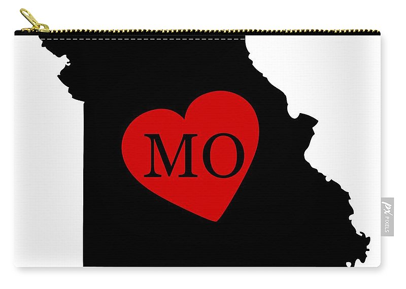 Missouri Carry-all Pouch featuring the digital art Love Missouri Black by Custom Home Fashions
