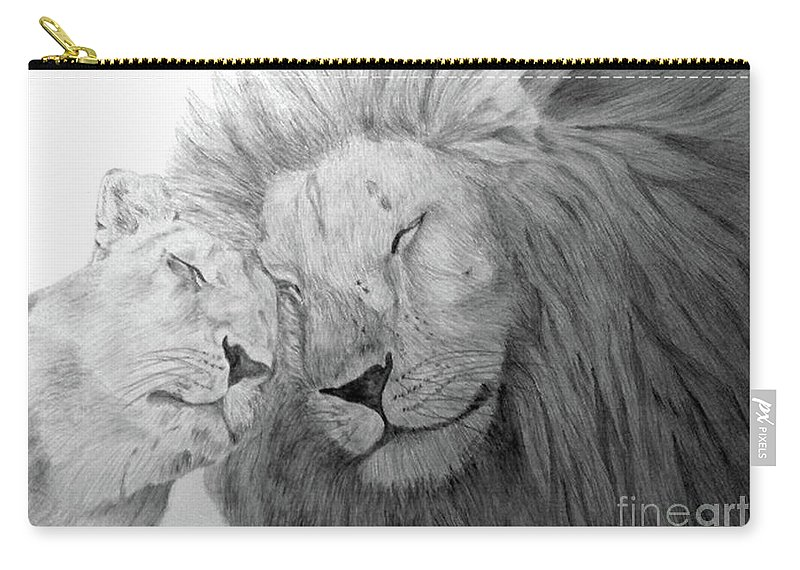 Lions Wild Cats Animals Drawing Pencil Paper Carry-all Pouch featuring the drawing Love by Nadi Sabirova