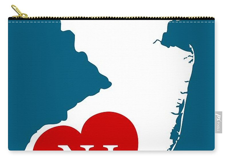 New Jersey Carry-all Pouch featuring the digital art Love New Jersey White by Custom Home Fashions