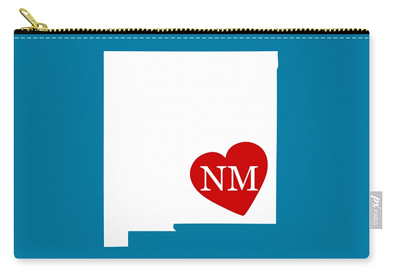 New Mexico Carry-all Pouch featuring the digital art Love New Mexico White by Custom Home Fashions