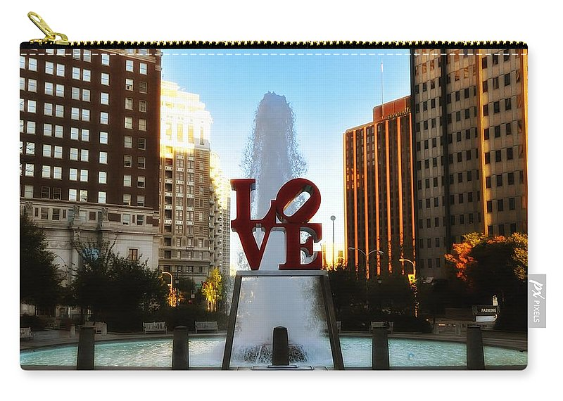 Love Carry-all Pouch featuring the photograph Love Park - Love Conquers All by Bill Cannon