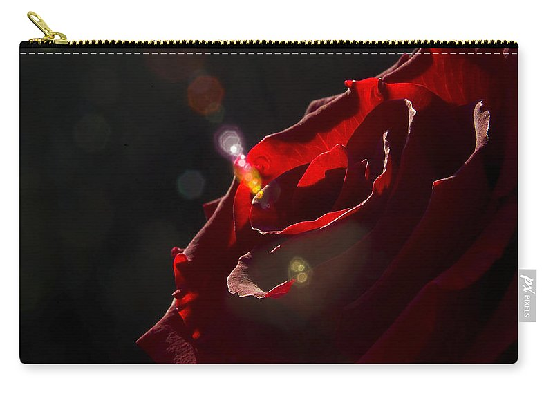 Black Carry-all Pouch featuring the photograph Love Rose by Svetlana Sewell