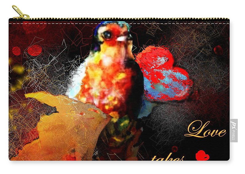 Love Carry-all Pouch featuring the painting Love Takes Flight by Miki De Goodaboom