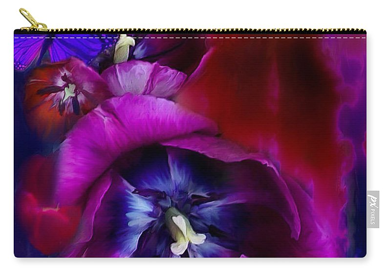 Tulip Carry-all Pouch featuring the mixed media Love Tulips by Carol Cavalaris