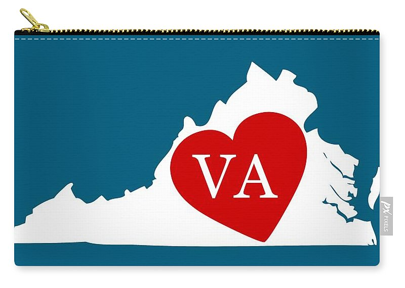 Virginia Carry-all Pouch featuring the digital art Love Virginia White by Custom Home Fashions