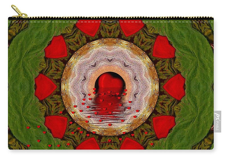 Heart Carry-all Pouch featuring the mixed media Love Will Never Have A End by Pepita Selles