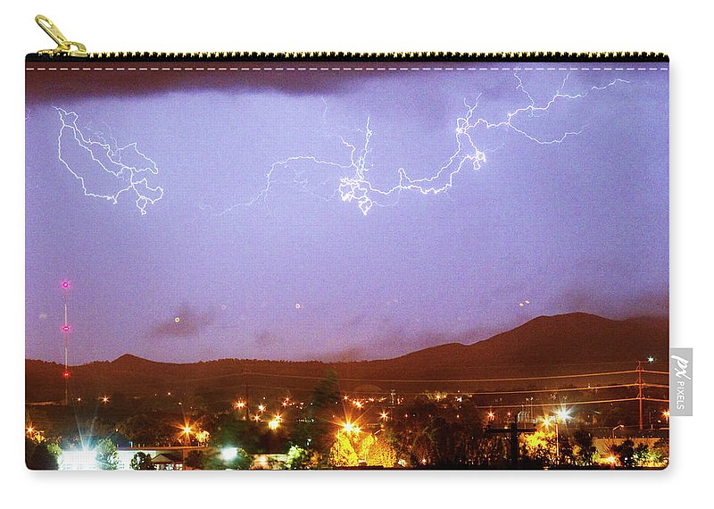 Boulder County Carry-all Pouch featuring the photograph Loveland Colorado Front Range Foothills Lightning Thunderstorm by James BO Insogna