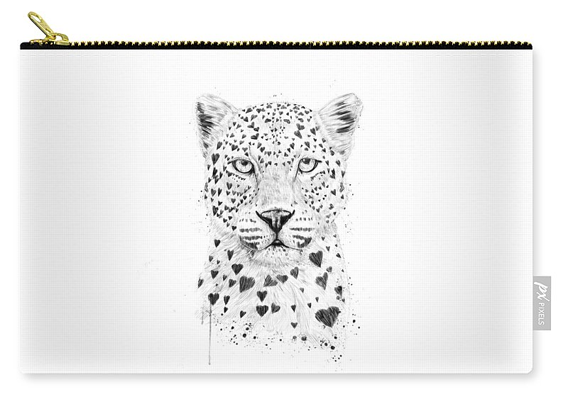Leopard Carry-all Pouch featuring the drawing Lovely leopard by Balazs Solti