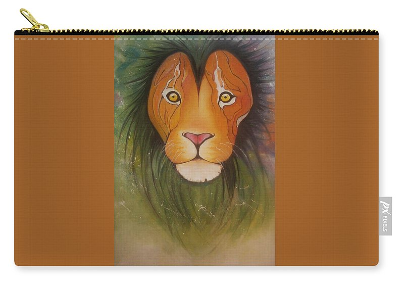 #lion #oilpainting #animal #colorful Carry-all Pouch featuring the painting Lovelylion by Anne Sue