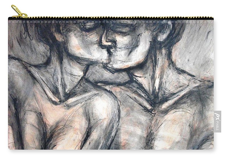 Original Carry-all Pouch featuring the painting Lovers - Kiss by Carmen Tyrrell
