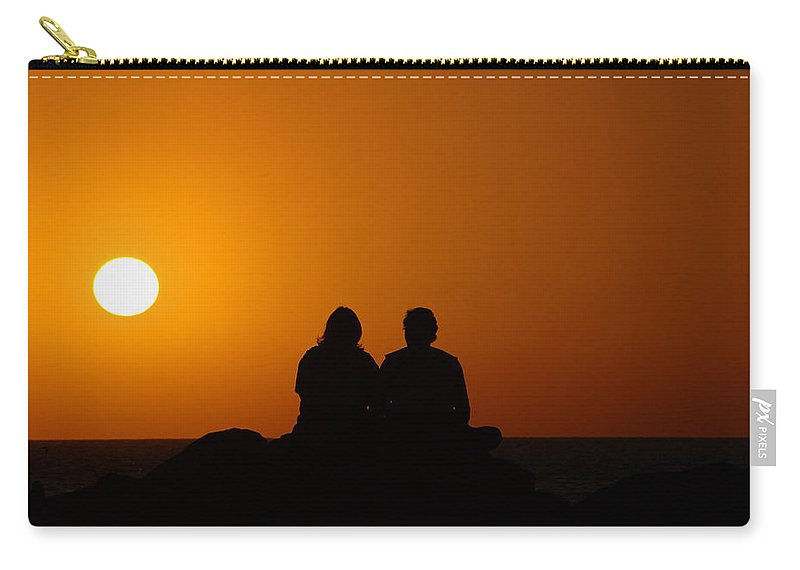 Sunset Carry-all Pouch featuring the photograph Lovers At Sunset by Susanne Van Hulst
