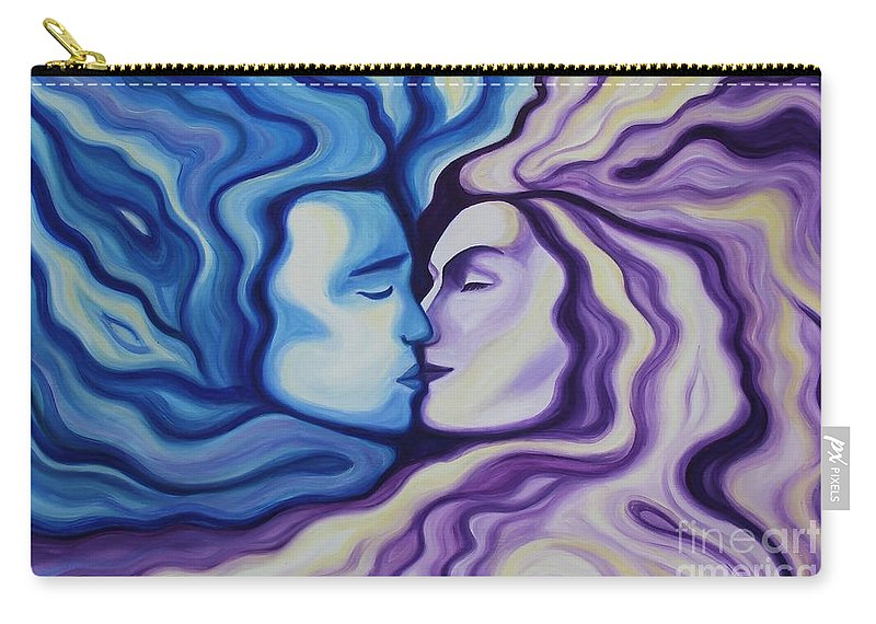 Acrylic Carry-all Pouch featuring the painting Lovers In Eternal Kiss by Jindra Noewi