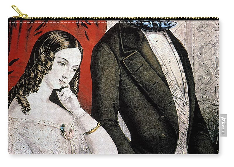 1846 Carry-all Pouch featuring the photograph Lovers Quarrel, 1846 by Granger