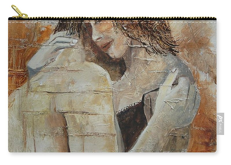 Girl Carry-all Pouch featuring the painting Loving Couple by Pol Ledent