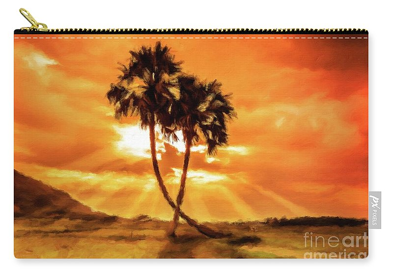Landscape Carry-all Pouch featuring the painting Loving Trees by Sarah Kirk