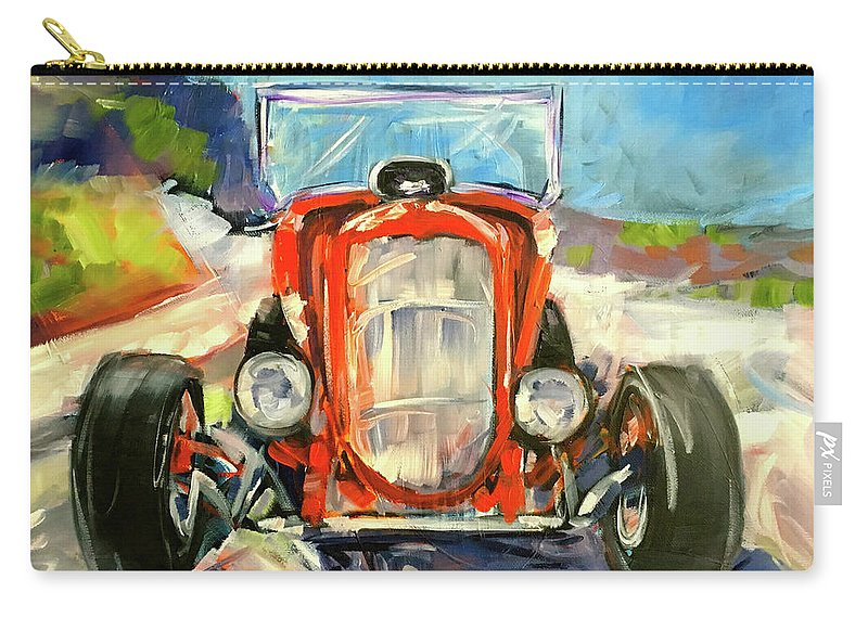 Hot Rod Carry-all Pouch featuring the painting Low Rider by Alan Metzger