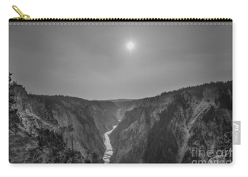 Yellowstone Carry-all Pouch featuring the photograph Lower Falls At Artist Point Bw by Michael Ver Sprill