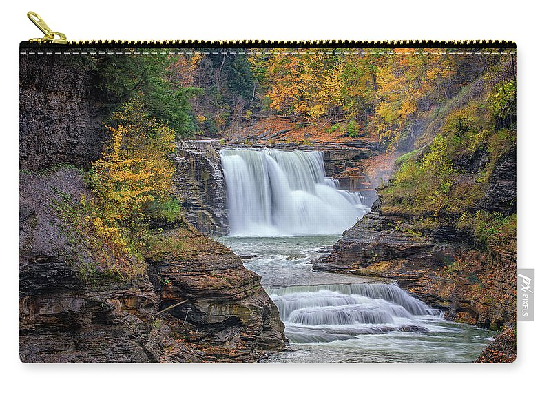 Autumn Carry-all Pouch featuring the photograph Lower Falls In Autumn by Rick Berk