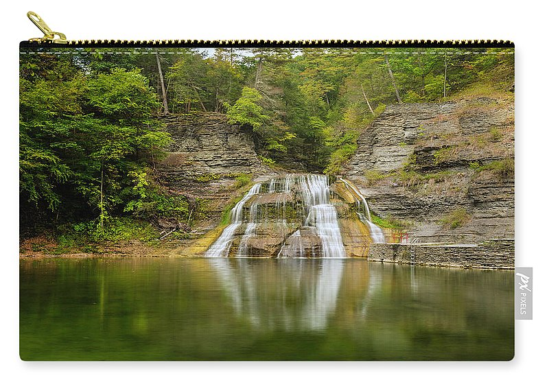 New York Carry-all Pouch featuring the photograph Lower Falls Reflection Of Enfield Glen by Karen Jorstad