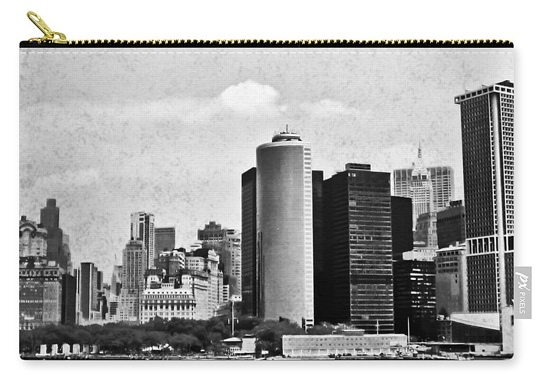 Lower Manhattan Carry-all Pouch featuring the digital art Lower Manhattan by Mary Pille