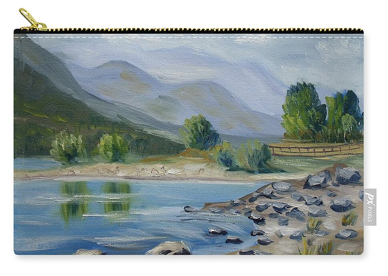 Landscape Carry-all Pouch featuring the painting Lozoya by Elena Sokolova