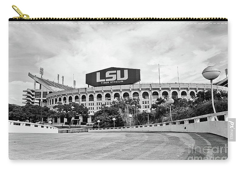 Lsu Carry-all Pouch featuring the photograph Lsu Tiger Stadium -bw by Scott Pellegrin