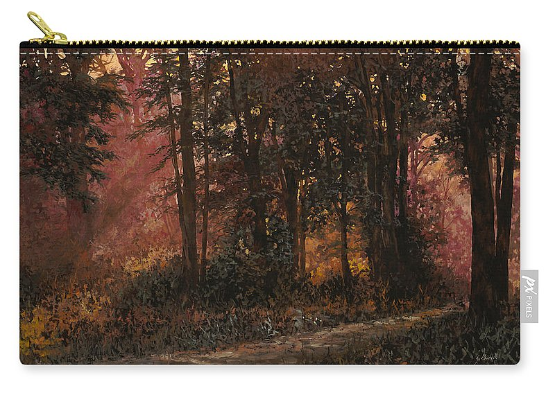 Wood Carry-all Pouch featuring the painting Luci Nel Bosco by Guido Borelli