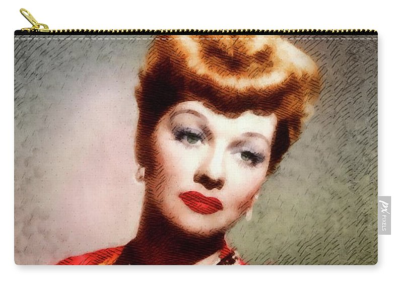Lucy Carry-all Pouch featuring the painting Lucille Ball, Vintage Actress by John Springfield