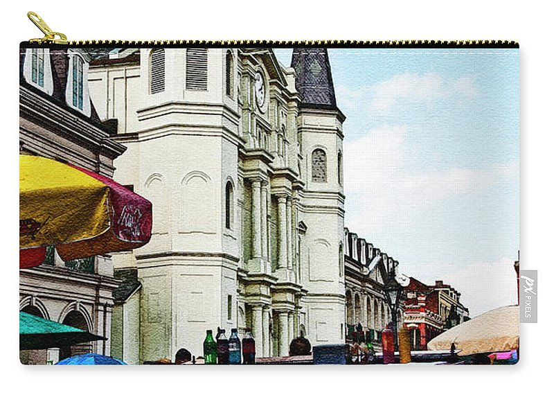 Photography Carry-all Pouch featuring the photograph Lucky Dogs And St. Louis Cathedral by Kathleen K Parker