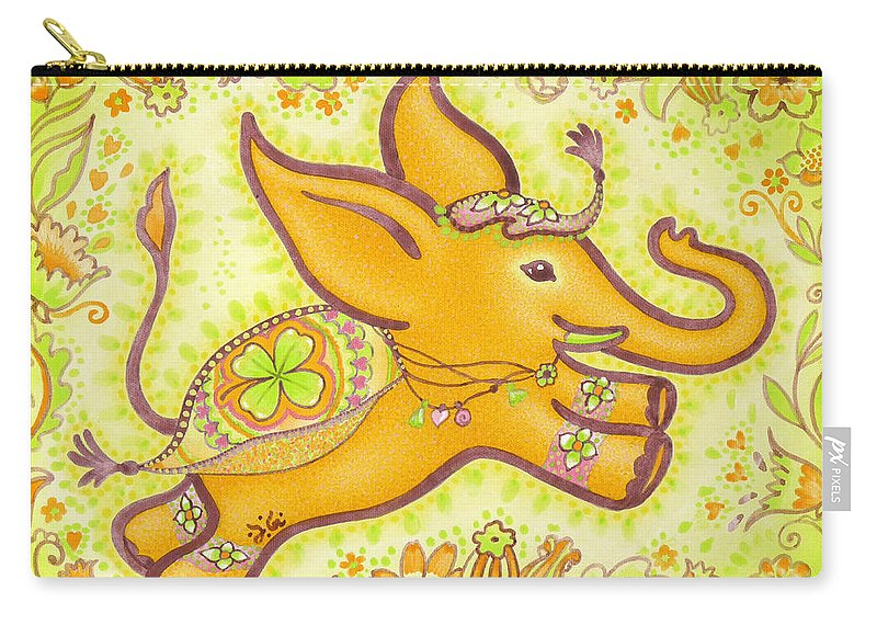 Lucky Elephant Orange Carry-all Pouch featuring the painting Lucky Elephant Orange by Judith Grzimek