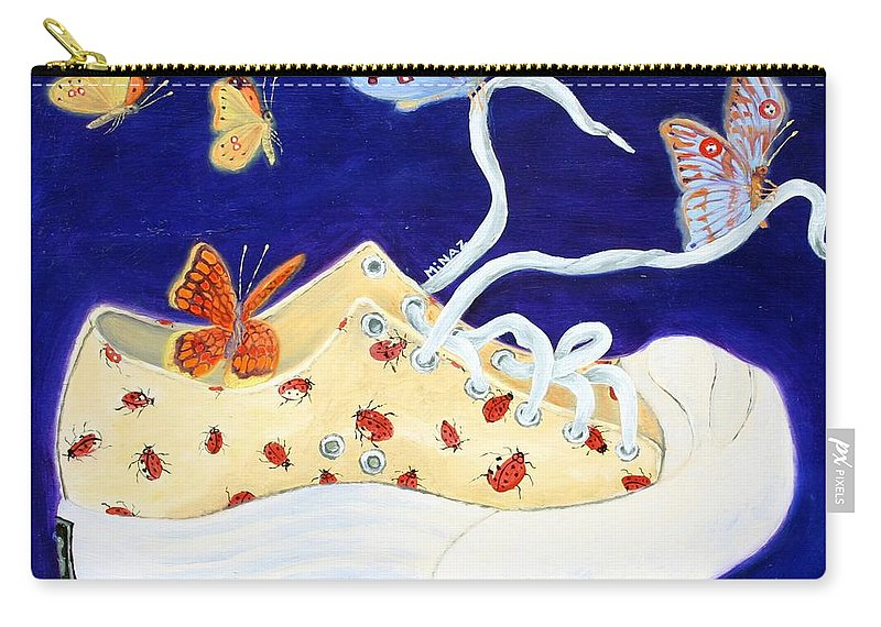 Running Shoes Carry-all Pouch featuring the painting Lucky Lady Bug Shoe by Minaz Jantz