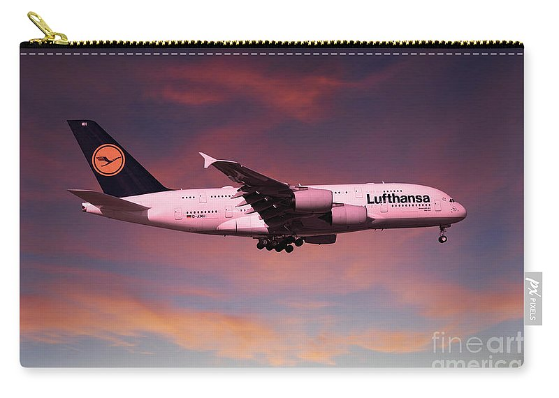 A380 Carry-all Pouch featuring the digital art Lufthansa Airbus A380 D-aimh by J Biggadike