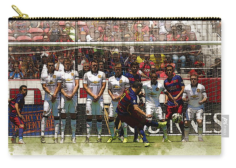 Uefa Chamipons League Carry-all Pouch featuring the digital art Luis Suarez Hits The Post by Don Kuing