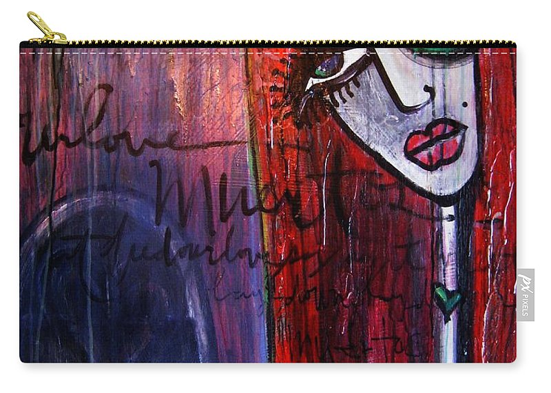Luna Carry-all Pouch featuring the painting Luna Our Love Muertos by Laurie Maves ART