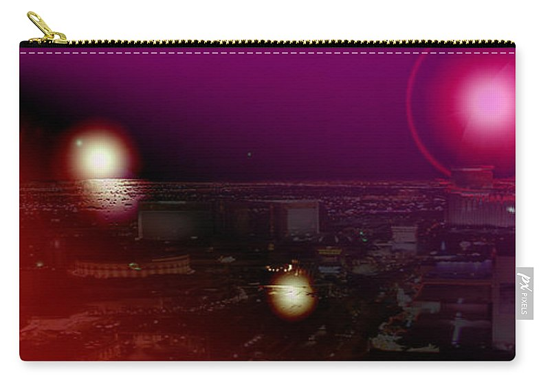 Las Vegas Strip Moon Stars Lunar Sky Planets Orbit Space Carry-all Pouch featuring the photograph Luna Vegas by Andrea Lawrence