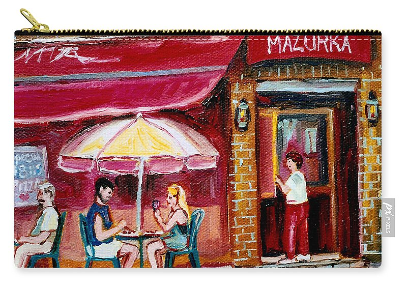 Mazurka Restaurant Carry-all Pouch featuring the painting Lunch At The Mazurka by Carole Spandau