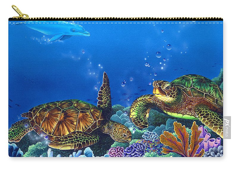 Turtles Carry-all Pouch featuring the painting Lunchtime by Angie Hamlin