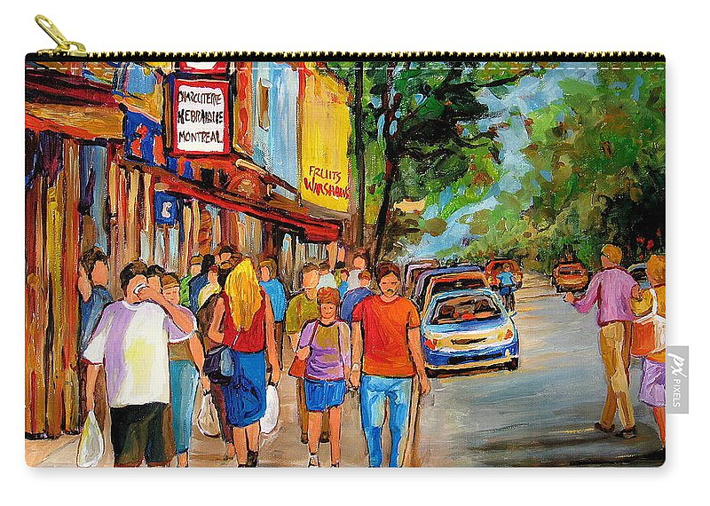 Montreal Streetscenes Carry-all Pouch featuring the painting Lunchtime On Mainstreet by Carole Spandau