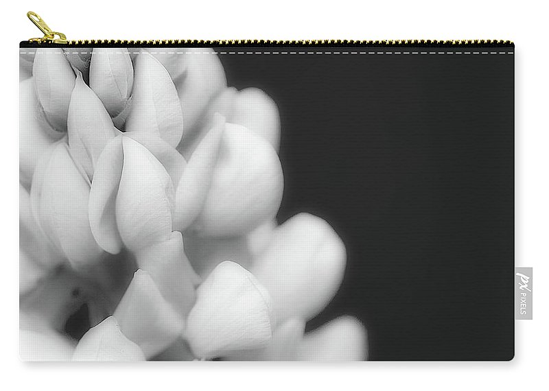 Black And White Carry-all Pouch featuring the photograph Lupine In Black And White by Lisa Knechtel